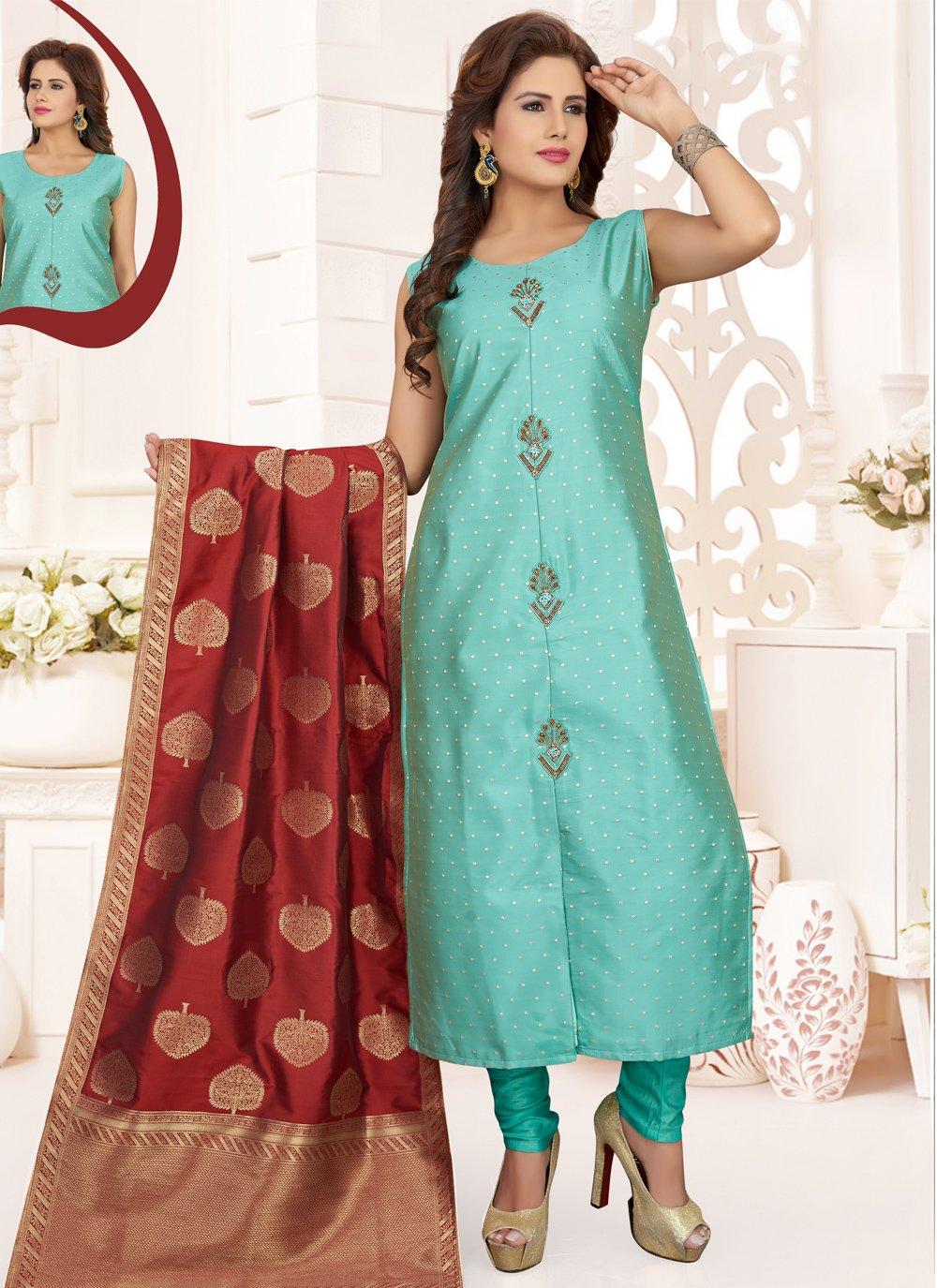Aqua Blue Silk Designer Straight Salwar Suit