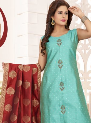 Aqua Blue Silk Designer Straight Salwar Suit