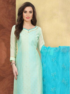 Aqua Blue Silk Salwar Suit