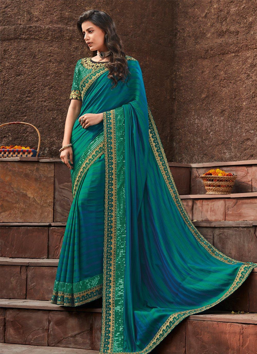 Aqua Blue Silk Wedding Designer Saree
