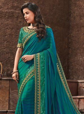Aqua Blue Silk Wedding Designer Saree
