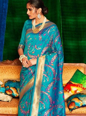 Aqua Blue Weaving Classic Saree