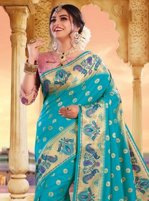Aqua Blue Weaving Designer Saree