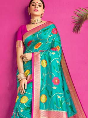 Aqua Blue Weaving Party Silk Saree