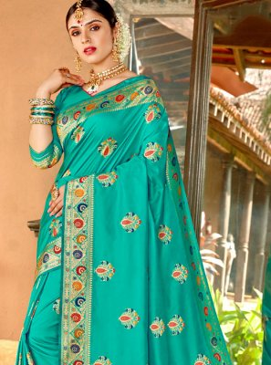 Aqua Blue Weaving Wedding Classic Designer Saree