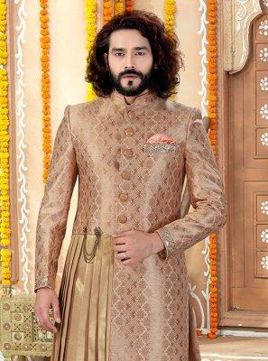 Art Banarasi Silk Brown Embroidered Indo Western