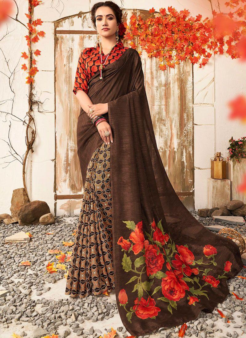 Art Banarasi Silk Brown Printed Designer Saree