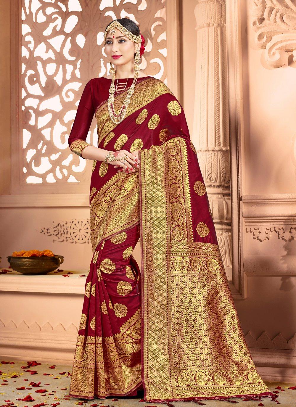 Art Banarasi Silk Classic Saree in Maroon