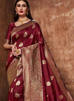 Art Banarasi Silk Designer Traditional Saree in Wine