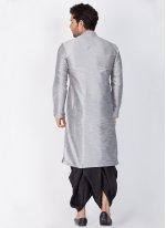 Art Banarasi Silk Dhoti Kurta in Grey