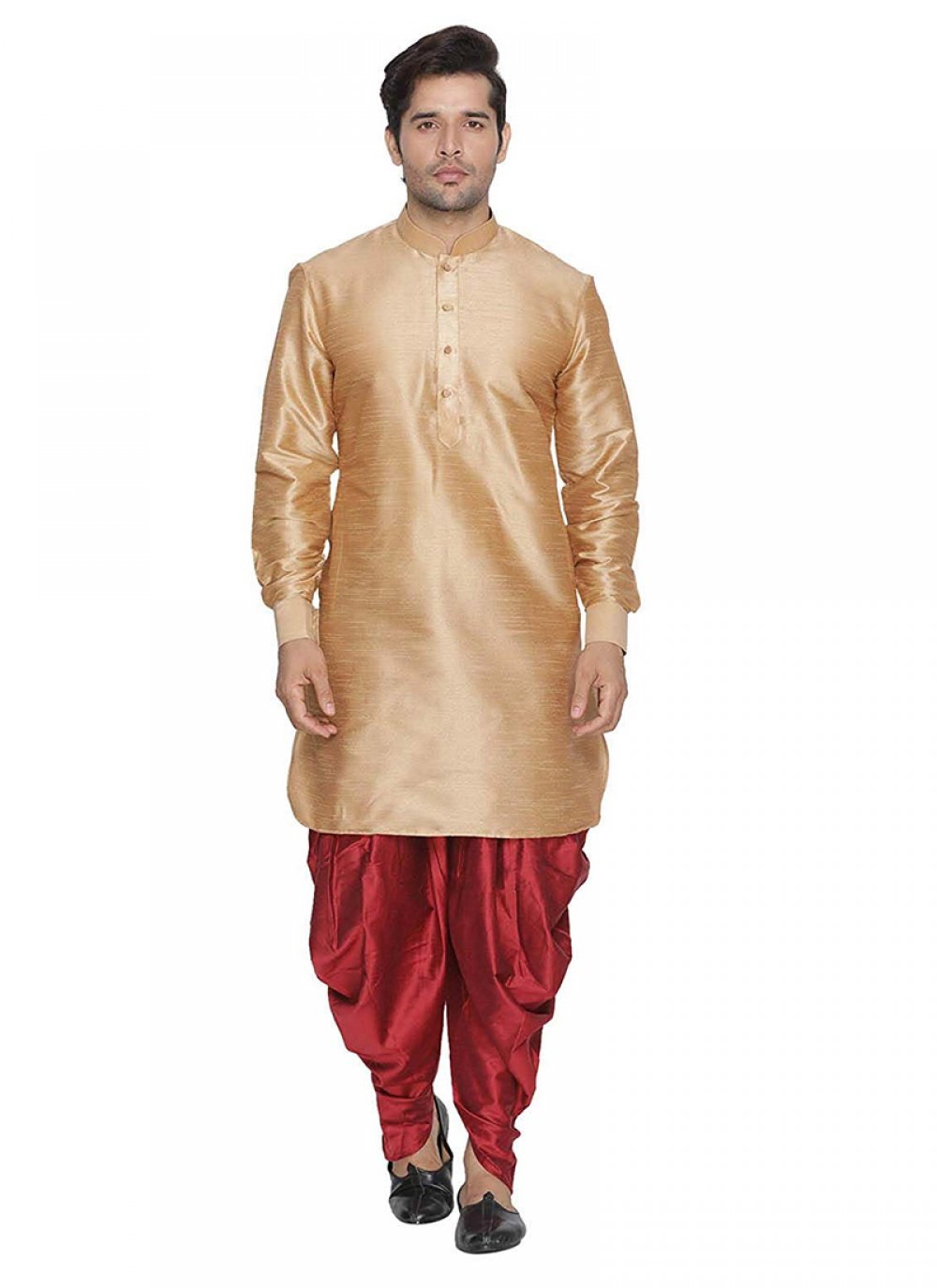 Art Banarasi Silk Dhoti Kurta in Peach