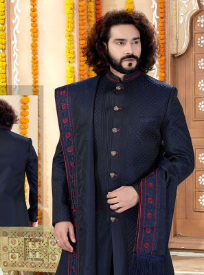 Art Banarasi Silk Embroidered Navy Blue Sherwani