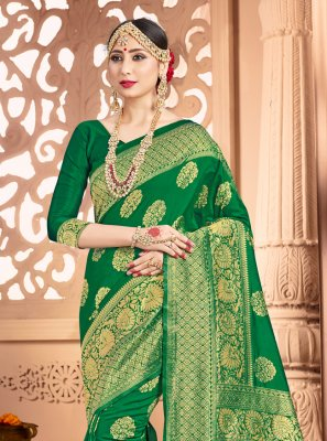 Art Banarasi Silk Green Weaving Contemporary Saree