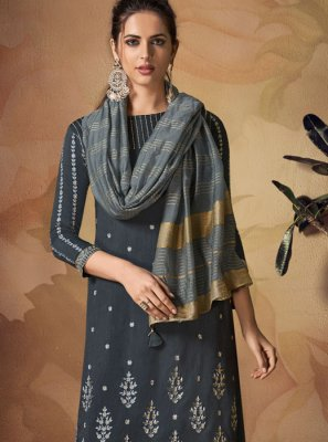 Art Banarasi Silk Grey Salwar Suit