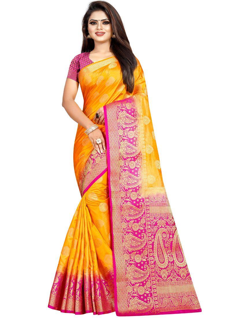 Art Banarasi Silk Mustard Designer Traditional Saree
