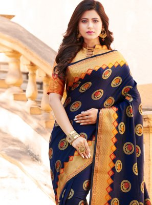 Art Banarasi Silk Navy Blue Designer Traditional Saree