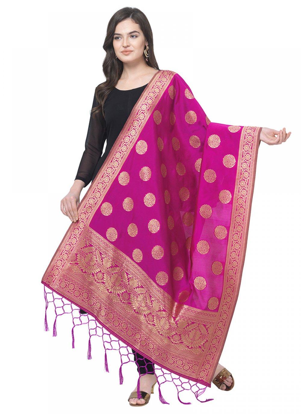 Art Banarasi Silk Pink Designer Dupatta