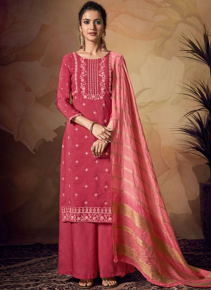 Art Banarasi Silk Pink Embroidered Salwar Kameez