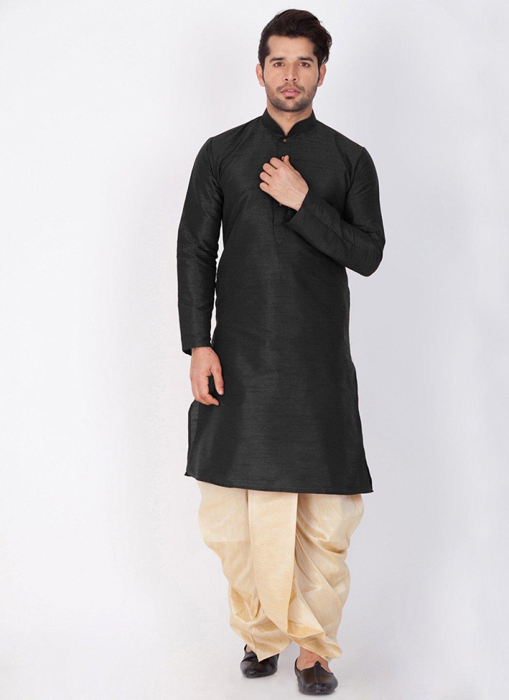 Art Banarasi Silk Plain Black Dhoti Kurta