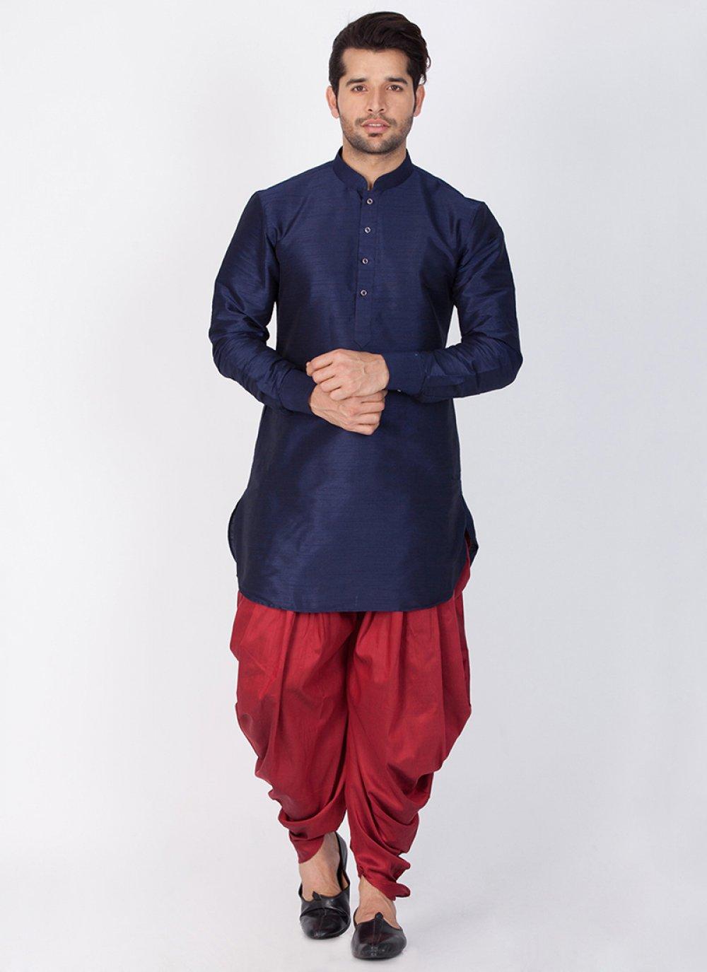 Art Banarasi Silk Plain Navy Blue Dhoti Kurta