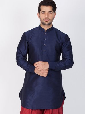 Art Banarasi Silk Plain Navy Blue Dhoti Kurta