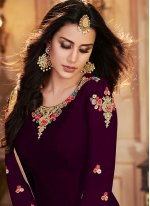Art Banarasi Silk Purple Embroidered Salwar Suit