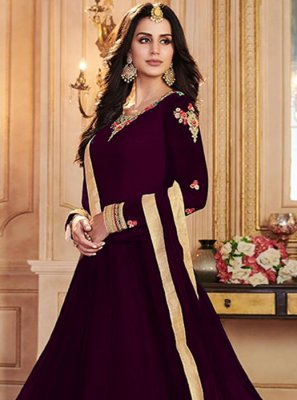 Art Banarasi Silk Purple Embroidered Salwar Suit