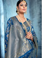 Art Banarasi Silk Saree in Blue