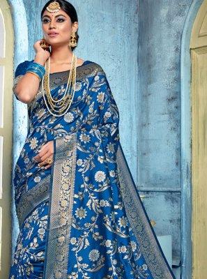 Art Banarasi Silk Saree in Blue