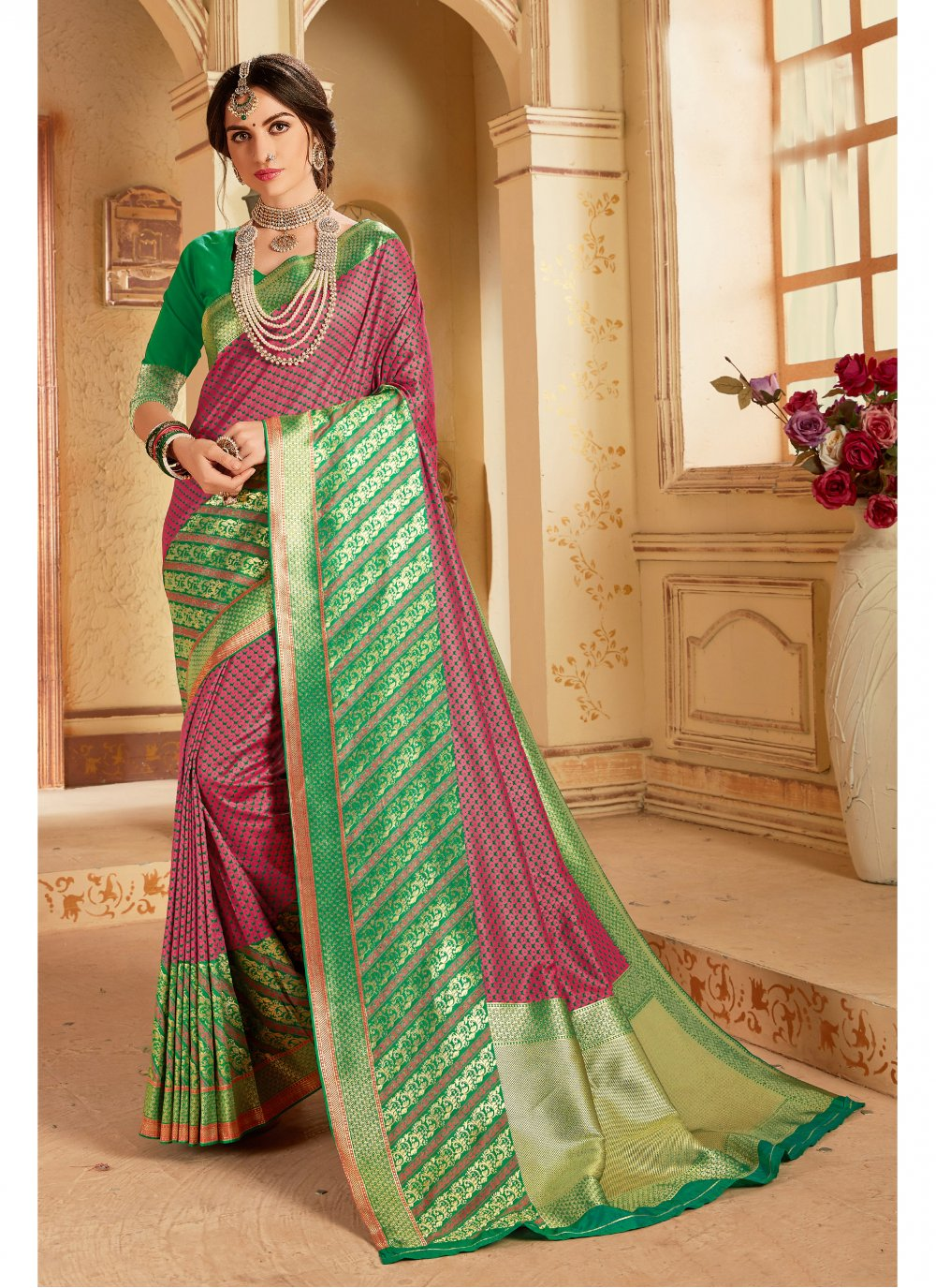 Art Banarasi Silk Saree in Wine
