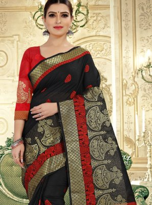 Art Banarasi Silk Weaving Black Designer Traditional Saree