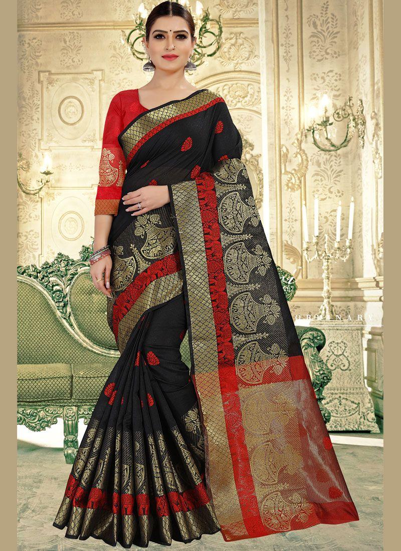 Art Banarasi Silk Weaving Black Designer Traditional Saree