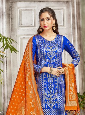 Art Banarasi Silk Weaving Blue Salwar Suit