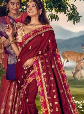 Art Banarasi Silk Weaving Brown Designer Traditional Saree