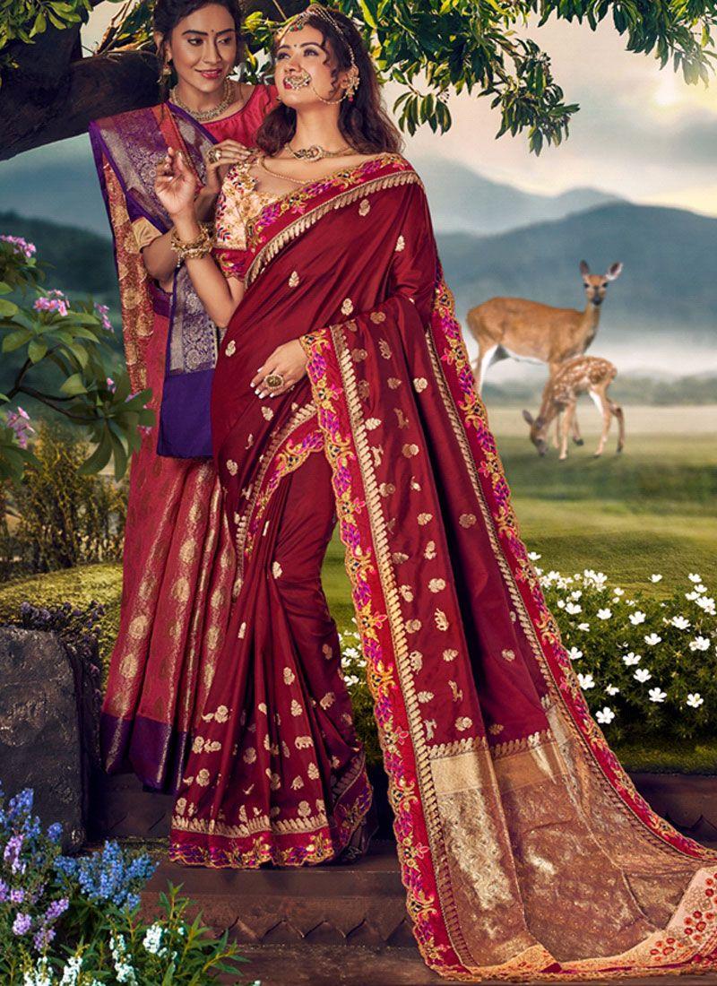 Art Banarasi Silk Weaving Brown Designer Traditional Saree