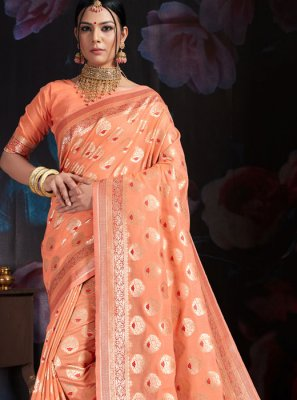 Art Banarasi Silk Weaving Designer Traditional Saree in Peach