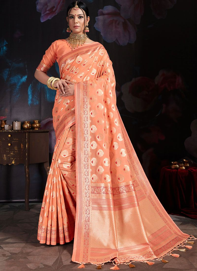 Art Banarasi Silk Weaving Designer Traditional Saree in Peach
