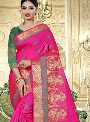 Art Banarasi Silk Weaving Designer Traditional Saree in Pink
