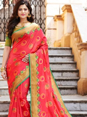Art Banarasi Silk Weaving Hot Pink Traditional Saree