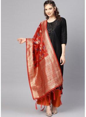 Art Banarasi Silk Weaving Red Designer Dupatta