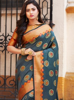 Art Banarasi Silk Weaving Teal Traditional Saree