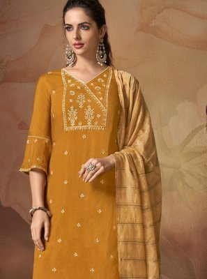 Art Banarasi Silk Yellow Embroidered Salwar Suit