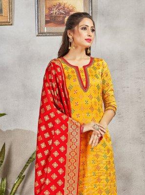 Art Banarasi Silk Yellow Pant Style Suit