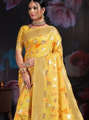 Art Banarasi Silk Yellow Weaving Designer Traditional Saree