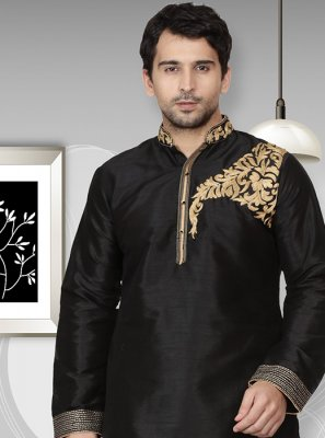 Art Dupion Silk Black Embroidered Kurta