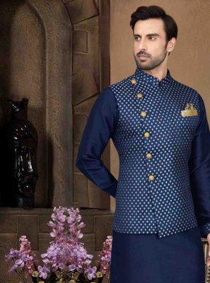 Art Dupion Silk Blue Plain Kurta Payjama With Jacket