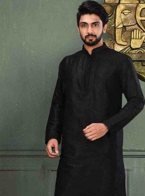 Art Dupion Silk Kurta Pajama in Black