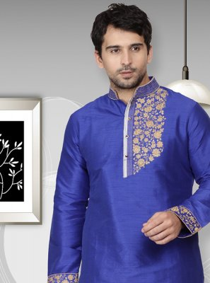 Art Dupion Silk Embroidered Kurta in Blue