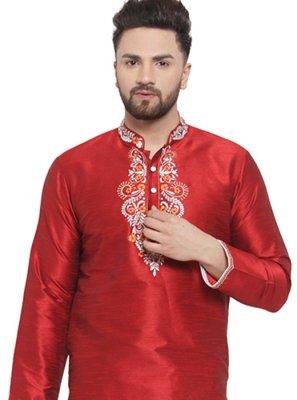 Art Dupion Silk Embroidered Kurta in Maroon