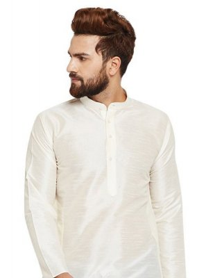 Art Dupion Silk Embroidered Kurta in White